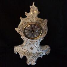 Stunning Vintage German Sitzendorf White Porcelain Mantel Clock, Ornate, roses.