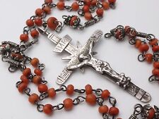 """RARE ANTIQUE HUGE 19"""" STERLING SILVER ROSARY RED CORAL BEADS SKULL CROSS"""