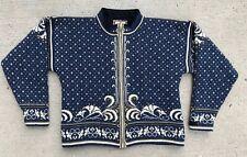 Dale of Norway Women's Medium Wool Cardigan Sweater Velvet Trim Zipper
