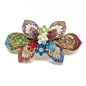 Woman hair barrette rainbow color rhinestones Metal flower hair claws clips