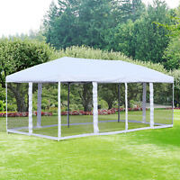 10' x 20' Pop Up Party Tent Outdoor Shelter with 6 Mesh Sidewalls -  Cream White