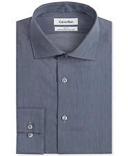 $175 CALVIN KLEIN Men SLIM-FIT WHITE BLUE STRIPE BUTTON DRESS SHIRT 15.5 34/35 M