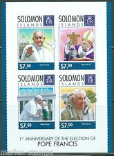 SOLOMON ISLANDS 2014 1st ELECTION  ANNIVERSARY OF POPE FRANCIS SHT IMPRF MINT NH