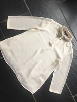 75ac8d68bc0d21 Ted Baker Cream Ivory Chiffon 3 4 Sleeved Blouse Top Size 0 With Beaded Gem