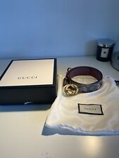 Gucci GG Blooms Floral Gold Buckle Wide Belt Size 85/34