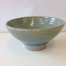 Made In Cley Glazed Studio Pottery Pedestal Bowl Blue And Green