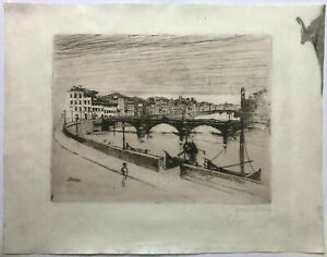 ETCHING Pencil Signed ~ ITALIAN RIVER CITY ~ 1883 Joseph Pennell MUSEUM QUALITY