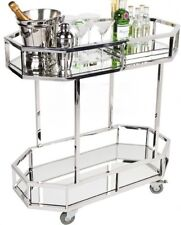 Stainless steel framed drinks trolley with two mirrored shelves large castors