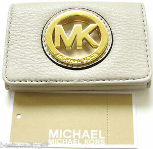 NEW MICHAEL KORS FULTON GENUINE LEATHER+GOLD TONE CARD CASE WALLET
