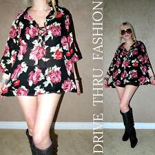 Vtg 90s SHEER ROSES deep V BOHO HIPPIE GYPSY Drape GRUNGE dress shirt top