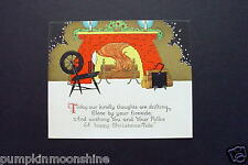 # I 125- Vintage Unused Xmas Greeting Card Hand Colored Roaring Fireplace
