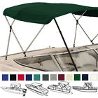"""Bimini Top Boat Cover Green 3 Bow 72""""L 46""""H 61""""-66""""W With Boot and Rear Poles"""