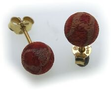Women's Earrings Red sponge Coral Silver 925 Stud Earrings Sterling Silver Coral