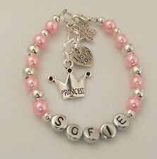 Personalised love you god daughter sister niece baby bracelet birthday Xmas