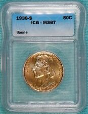 1936-S MS-67 Daniel Boone Bicentennial Classic Commemorative Silver Half Unc