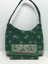 CHARMING  PAISLEY GREEN QUILTED COTTON SHOULDER BAG  with ORGANIZER WALLET