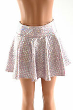 "SMALL 12"" Pink & Silver Mermaid Scale Circle Cut Mini Rave Skirt Ready To Ship!"