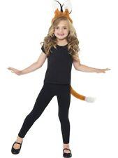 Kinder Fox Ohren Stirnband & Schwanz Set Hellbraun Tier Kostüm Zubehör Neu