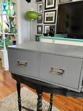 VINTAGE GRAY METAL TWO DRAWER FILE CARD CABINET BUDDY PRODUCTS 20 1/2