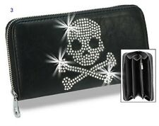 BLACK RHINESTONE ZIPPER WALLET CHECKERED BUTTERFLY ANGEL WINGS SKULL CROSS BONES