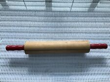 """Vintage Wood Rolling Pin With Red Handles 15 1/2"""""""