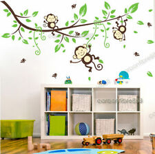 Monkey Jungle Animal Branches Birds Wall Stickers Kids Nursery Art Decal Decor