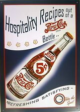 Pepsi:Cola Hospitality Recipes Metal Sign
