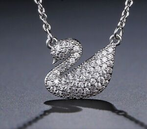 Pretty Swan Pendant With Tiny Clear Crystal Necklace