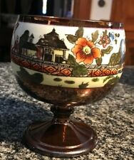 NICE COPPER LUSTRE LOW WIDE GOBLET WITH CHINOSOIRE DECORATION!