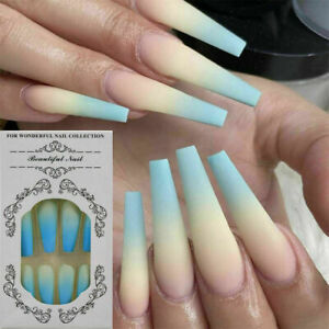 24 Pcs Coloured Long Full Cover False Manicure Nails New In- Ballerina/ Coffin