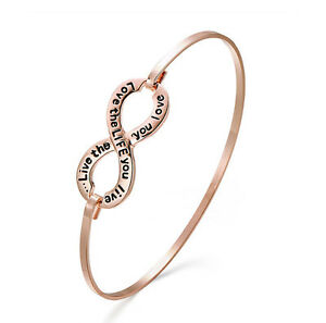 Rose Gold Infinity Engraved Message Bangle