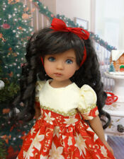 "Poinsettia Grandeur - dress, tights & shoes for 13"" Effner Little Darlings Doll"