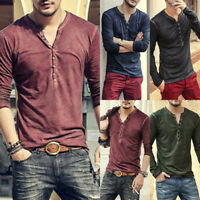 Men's Slim Fit V Neck Long Sleeve Muscle Tee T-shirt Casual Tops Henley Shirts