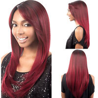 fashion womens straight long hair full wigs cosplay party burgundy wig wine red