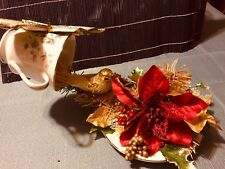 Floating Tea Cup Gold Christmas Bird Arrives In Time To Bring Christmas Joy.