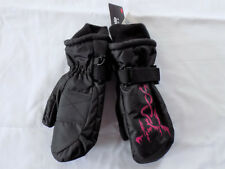 NWT Girl 4-7 Yr Black Thinsulate 40 Gram Waterproof Mittens w/ Pink Dragon Print