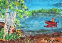 ART ACEO  ***FISHING*** ACRYLIC PAINTING ON CANVAS PAPER  BOAT LAKE WATER BLUE R