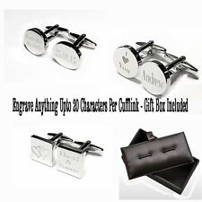 Silver Engraved Custom Cufflinks Cuff Links Personalised Gift Wedding Best Man Uncle of The Groom Rectangle
