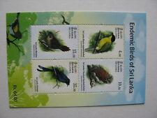 Timbres sri lanka endemic birds 4(V)neufs