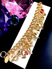 DAZZLING KIRKS FOLLY GOLD-TONE RHINESTONE MIDSUMMER NIGHT'S DREAM CHARM BRACELET