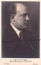 HANS HERMANN NISSEN opera baritone signed photo, 1930