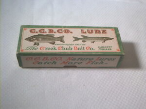 Vintage old fishing lure box only Creek Chub Fintail Shiner Yellow Spot