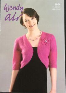 "Wendy Knitting Pattern 5804  Air Lace Ladies Bolero Shrug Size 28""/42"""