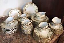 71 Pc 10 Placesetting Antique Moriage Gold Rim Meito Japan Dish Plate Set Wow