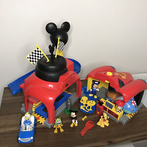 Disney RARE Mickey Mouse Clubhouse Deluxe Race Car Playset with Figures - Bundle