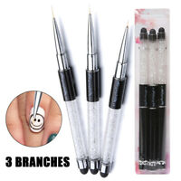 3PCS Nail Art Liner Brushes Pen UV Gel Drawing Painting with Diamond Handle DIY