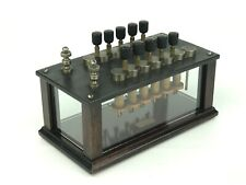 Antique Welch 12 Knob Resistance Box Electrical Variable Resistor w/ Glass Sides