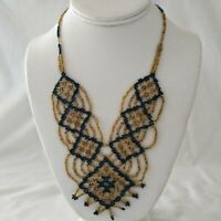 Vtg Seed Bead Necklace Hand Woven Boho Chic Gypsy Statement Runway Bib Collar