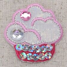 Pink Cupcake - Sequins - Jewels - Dessert - Iron on Applique - Embroidered Patch