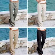 femme simple Pantalon Lin Pantalon d'été décontracté plage chino kaki cargo